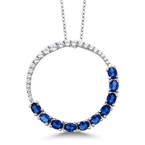 925 Sterling Silver Created Blue Sapphire Circle Pendant Necklace (2.20 Cttw, 1 Inch With Complimentary Chain)