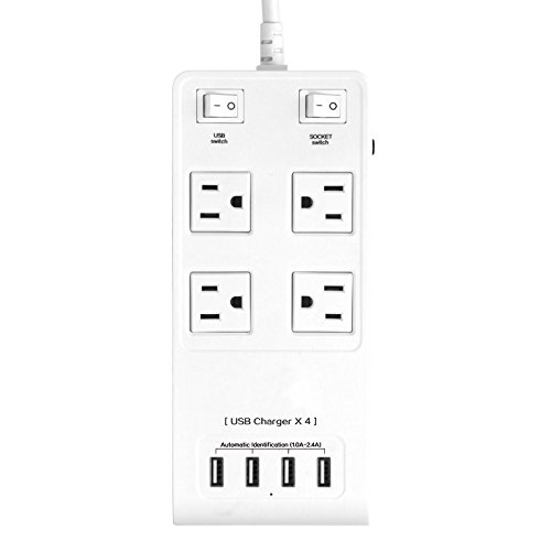 AWOW USB Charger AC Power Strip with USB White