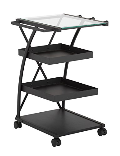 SD STUDIO DESIGNS Modern Triflex Mobile Storage Taboret for Arts and Crafts Charcoal/Clear Glass