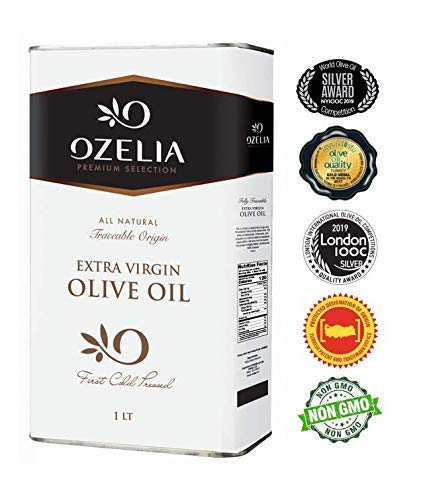 Extra Virgin Olive Oil by OZELIA 2019 Gold Award winning Best Olive Oil - 33.4 oz 100% Pure, Cold Pressed, Unfiltered, Non-GMO EVOO - For Cooking, Baking, Salad & Dressing