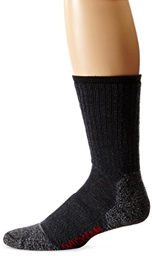Wigwam Men's Merino Lite Hiker Midweight Crew Socks,Black,Large/shoe Size:Men's 9-12,Women's 10-13