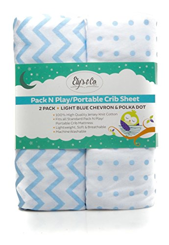 Pack N Play Portable Crib / Mini Crib Sheet Set 100% Jersey Cotton for Baby Boy by Ely's & Co. - Blue Chevron and Polka Dot 2 Pack