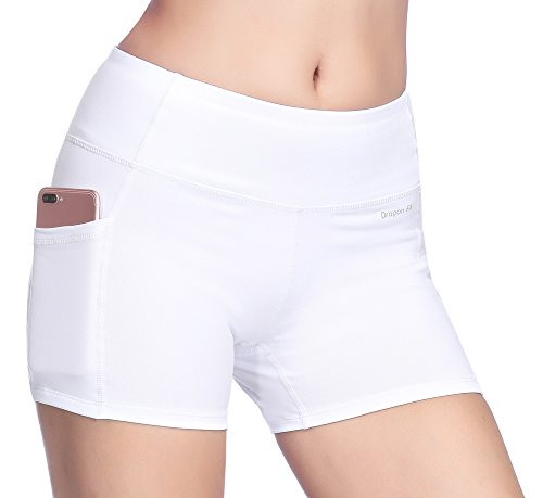 Dragon Fit Tummy Control Yoga Shorts High Waist Out Pockets Power Flex Workout Running Yoga Shorts 4 Way Stretch(Large, pockets-shorts15-white) by Dragon Fit (Image #7)
