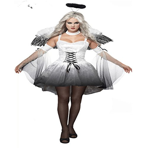 JUIOKK Black/White Fallen Angel Dress Costume,Women Halloween Cosplay with Wings Halo Headpiece]()