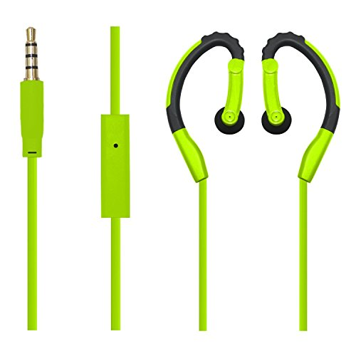BESIGN New Version SP01 Wired Sweat Proof Earphones, 3.5mm Stereo Sports Running Earbuds, Headsets, Headphones Mic Remote Control Smart Phones, Tablets, PC, Mp3 Players (Green)