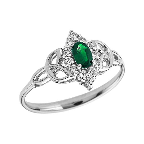 Oval Emerald and Diamond 10k White Gold Trinity Knot Proposal Ring(Size 7)