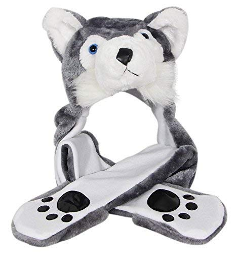 Costume Husky Timber Wolf Plush Animal Hat with Scarf Mittens (Husky Long) -