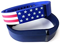 Large 1 American Flag 1 Navy Blue Band for Fitbit FLEX Only With Clasps Replacement /No tracker/