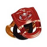 HWPYSLV Outdoor Side Plate Double Pulley, Rock Climbing Rescue Cross Shaft coaxial Double Pulley Outdoor coaxial Double Pulley,Gold red,A