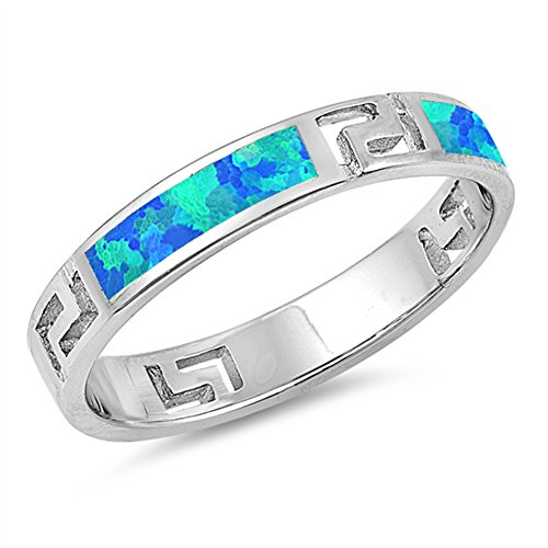 - Blue Simulated Opal Greek Key Filigree Ring .925 Sterling Silver Band Size 9