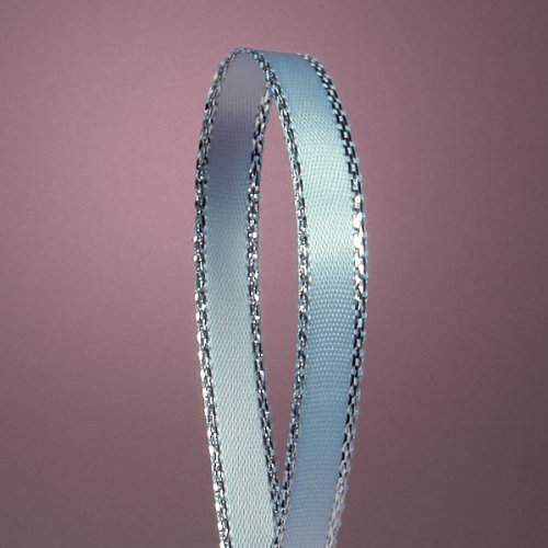 Light Blue Satin Ribbon with Silver Border, 1/4