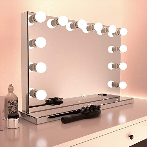 R flexon 24 x 32 Inch Full Mirrored Frameless Hollywood Style LED Lighted Vanity Makeup Mirror with 10W Qi-Enabled Wireless Fast Charger, 14 Daylight LED Dimmable Bulbs Included