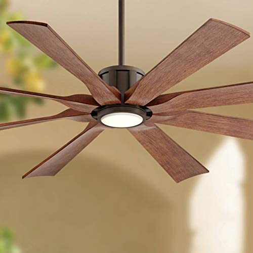 60 The Defender Modern Outdoor Ceiling Fan with Light LED Dimmable Remote Control Oil Rubbed Bronze Koa Blades Damp Rated for Patio Porch – Possini Euro Design