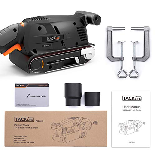 3 × 18-Inch Belt Sander with 13Pcs Sanding Belts, Tacklife Sanding Platform, with 10Feet(3M) Power Cord, Variable-speed Control, Fixed Screw Clamp, Dust Box, Vacuum Adapter - PSFS1A by TACKLIFE (Image #7)