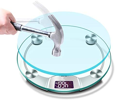 YUN HAI Non-slip Digital Weight Scale With Temperature Measurement, Square Bathroom Body Scale With Tape Measure, Tempered Glass, LCD Display, White