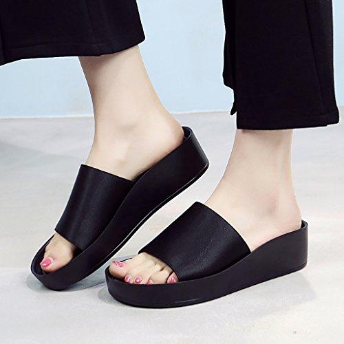 PENGFEI Chanclas de playa para mujer Zapatillas de playa de verano Mujer Casual de la moda antideslizante Pendiente con sandalias Negro, verde y rojo Cómodo y transpirable ( Color : Rojo , Tamaño : EU Negro