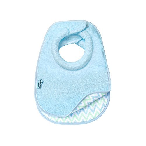 Tommee Tippee Closer to Nature Comfi-Neck Reversible Baby Bib with Soft Padded Collar, Boy, Blue, 0+ months, 2 Count