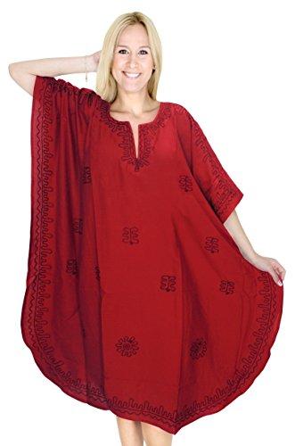 La Leela diseñador de bordado más tamaño vestido de noche corto caftán caftán Rojo