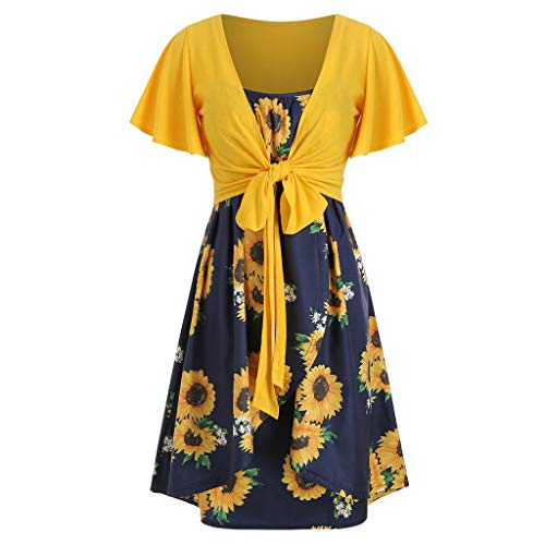 Corriee Women Summer Sunflower Print Dress Set Strap Pleated Swing Dress with Short Sleeve Bow Knot Cropped Top Yellow