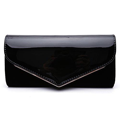 GESU Women Faux Patent Leather Glossy Clutch Purse Evening Bag Handbag Shoulder Bag For Wedding Prom Party.(Black-1) Black Patent Leather Clutch