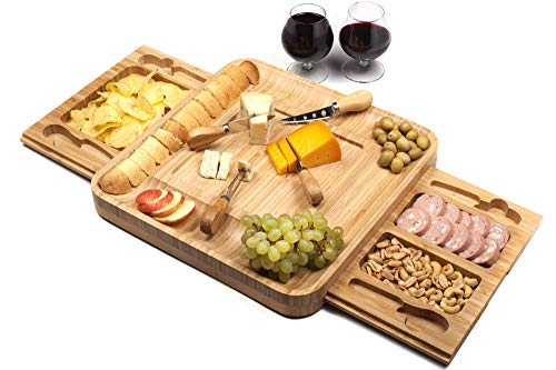 Bamboo Cheese Board With Stainless Steel Cutlery Set - Charcuterie Board With Removable Slate And Two Magnetic Detachable Drawers - Serving Platter With Cutlery Set For Cheese, Appetizers & Crackers by Shanik