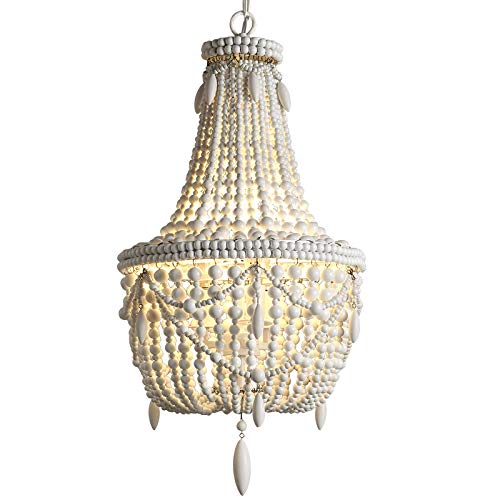 (KunMai Classic Farmhouse Distressed Wood Beaded Basket 3-Light Chandelier in Antique White/Gray (Antique White))