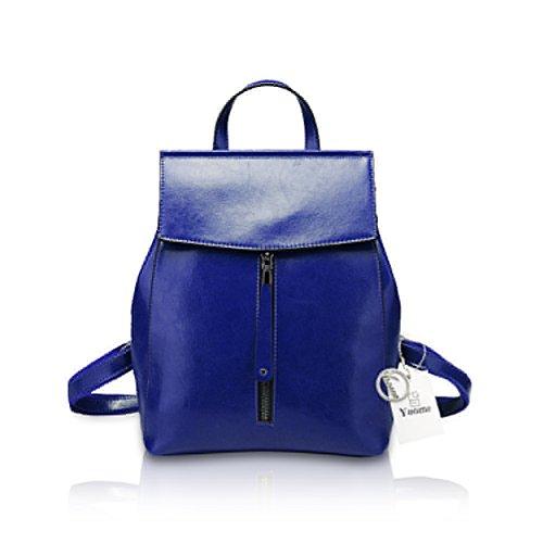 Yoome bolso de cuero multifunción Ziper bolsa para señoras bolso de hombro bolso Hangbag borgoña Azul