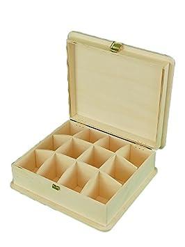 Caja madera. Con divisiones interiores. En crudo, para pintar.: Amazon.es: Hogar