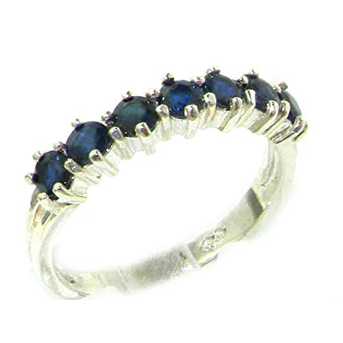 925 Sterling Silver Real Genuine Sapphire Womens Eternity Engagement Ring - Size 6