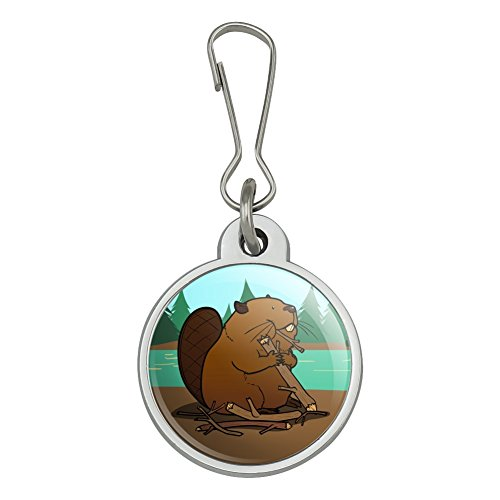 (Beaver Chomping Wood Jacket Handbag Purse Luggage Backpack Zipper Pull Charm)