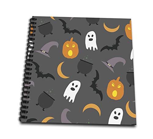 3dRose Anne Marie Baugh - Halloween - Halloween Ghosts, Pumpkins, Moons Pattern - Drawing Book 8 x 8 inch (db_289316_1)