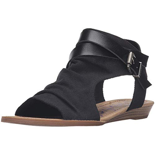 GuGio Women's Wedge Fish Mouth Sandal with Buckle