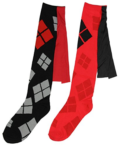 a9ed70eee61093 Galleon - DC Comics Harley Quinn Suicide Squad Caped Costume Cosplay Knee  High Socks