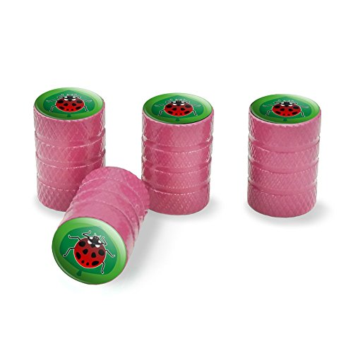 Graphics and More Red Ladybug on Green Leaf Ladybird Tire Rim Wheel Aluminum Valve Stem Caps - Pink - Leaf Green Rim