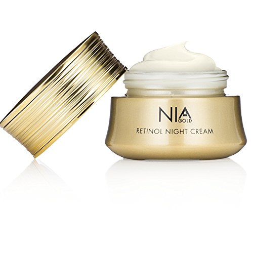 Nia Gold Luxury Anti-Aging Skin Care. Retinol Night Cream with 24 KT Gold, Argan Oil, Jojoba Oil and Pure Honey. 1oz.