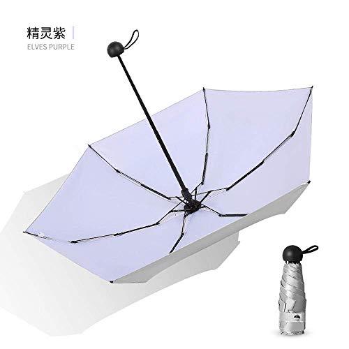 Folding Umbrella Mini Titanium Silver Umbrella Five Fold Umbrella Folding Dual-Use Umbrella Umbrella Sunscreen Female,Elf Purple,Silver Glue 6K
