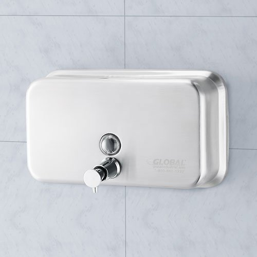 Horizontal Liquid Soap Dispenser - Global Industrial Stainless Steel Horizontal Liquid Soap Dispenser, 1000 ml