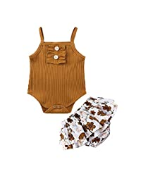 2Piece Toddler Baby Boys Girls Outifits Set,Sleeveless Cartoon Printed Summer Vest Tanks Top Short Pants Suit