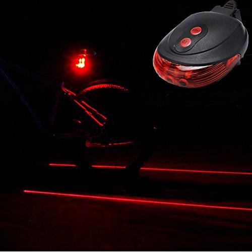 Laser Safety Light (AT Bike Lane LED Laser Rear Tail Light Cycling Bicycle Road Safety Bike Laser Tail Light 2 Laser Beam 5 LED 7 Flashing Patterns (Red light))