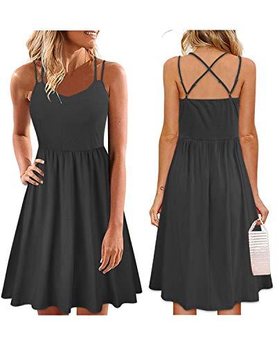 Adjustable Dress - ULTRANICE Women's Summer Floral Sleeveless Adjustable Spaghetti Backless Short Dress(Black,L)