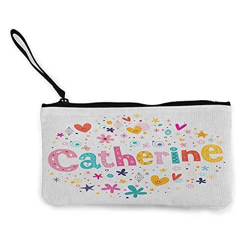 (Women's hand bag clutch bag Catherine Colorful Alphabet Design Ornate Lettering Nursery Themed Arrangement Dots Pattern Wallet Coin Purses Clutch W 8.5