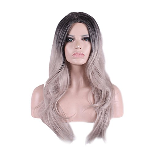 65cm Long Curly Black Root Ombre Grey Wig Synthetic Hair Wigs for Women