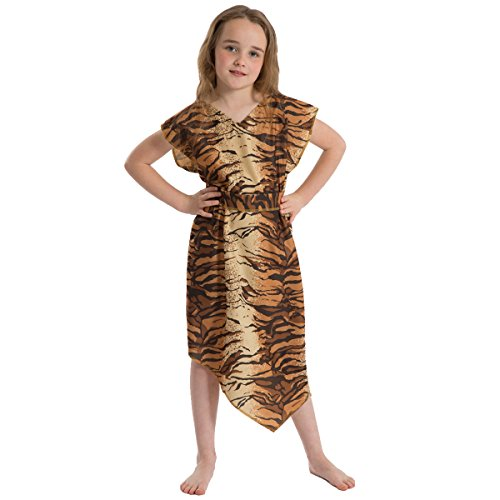 Caveman or Cavegirl Costume for Kids. Tiger Pattern. One Size 5-9 Years -