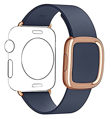 JSGJMY Apple Watch Band 42mm Genuine Leather Loop Original Modern Buckle With Magnetic Clasp Replacement Strap for iwatch Series1 Series2 (Midnight Blue+Rose Gold Buckle, 42MM M)