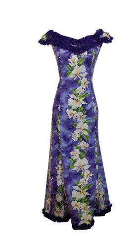 Jade Fashions Inc. Hawaiian Women Long Ruffle Dance Ginger Flower Maui Dress-Purple-2XL
