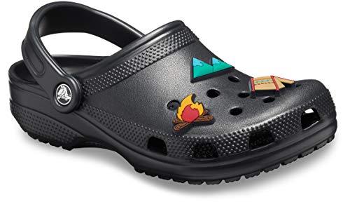 Crocs Classic Clog|Comfortable Slip On Casual Water Shoe, Black, 7 M US Women / 5 M US Men Shoe Charm 3-Pack | Personalize with Jibbitz