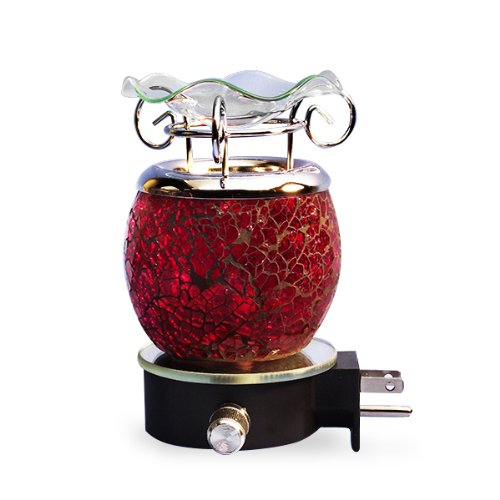 Electric Plug-in Premium Shattered Glass Fragrance Oil Burner … (Red) by Unknown