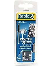 Rapid Blindklinknagels roestvrij staal Ø 4,8 mm, 4-7 mm klembereik, 50 stuks V2A klinknagels, set incl. boor, voor blindklinknagels