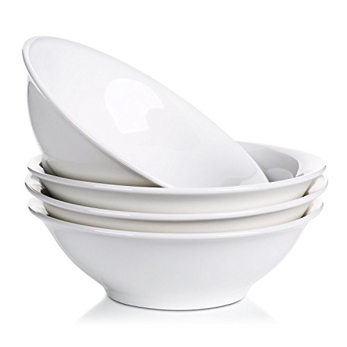 LIFVER 48 Ounce Porcelain Bowl Set, Cereal, Soup, Pasta Bowls, White, Set of 4, 9 Inch