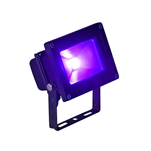 Byshun UV LED Flood Light,10W Ultra Violet Blacklight IP65 Waterproof for Blacklight Party Supplies,DJ Stage Lighting,UV Body Paint,Glow in The Dark,Aquarium,Curing,Fishing